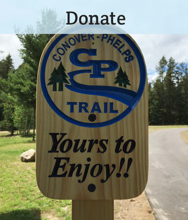 "Make the Northwoods even better – donate to help build the last 30% of the Conover – Phelps Trail. <a href=""https://greatheadwaterstrails.z2systems.com/np/clients/greatheadwaterstrails/donation.jsp"">DONATE NOW</a>"