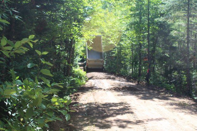 Truck dumping gravel