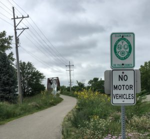 At the junction of the Prairie Path's Elgin Branch.